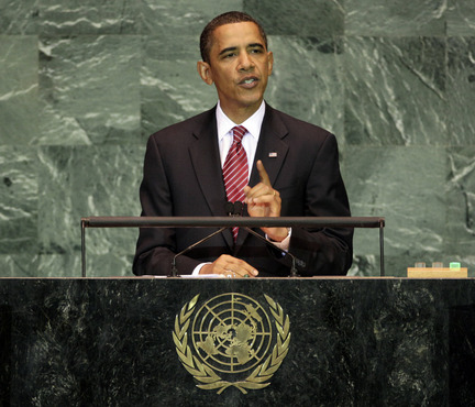 Obama at the UN last month: this probably had something to do with it
